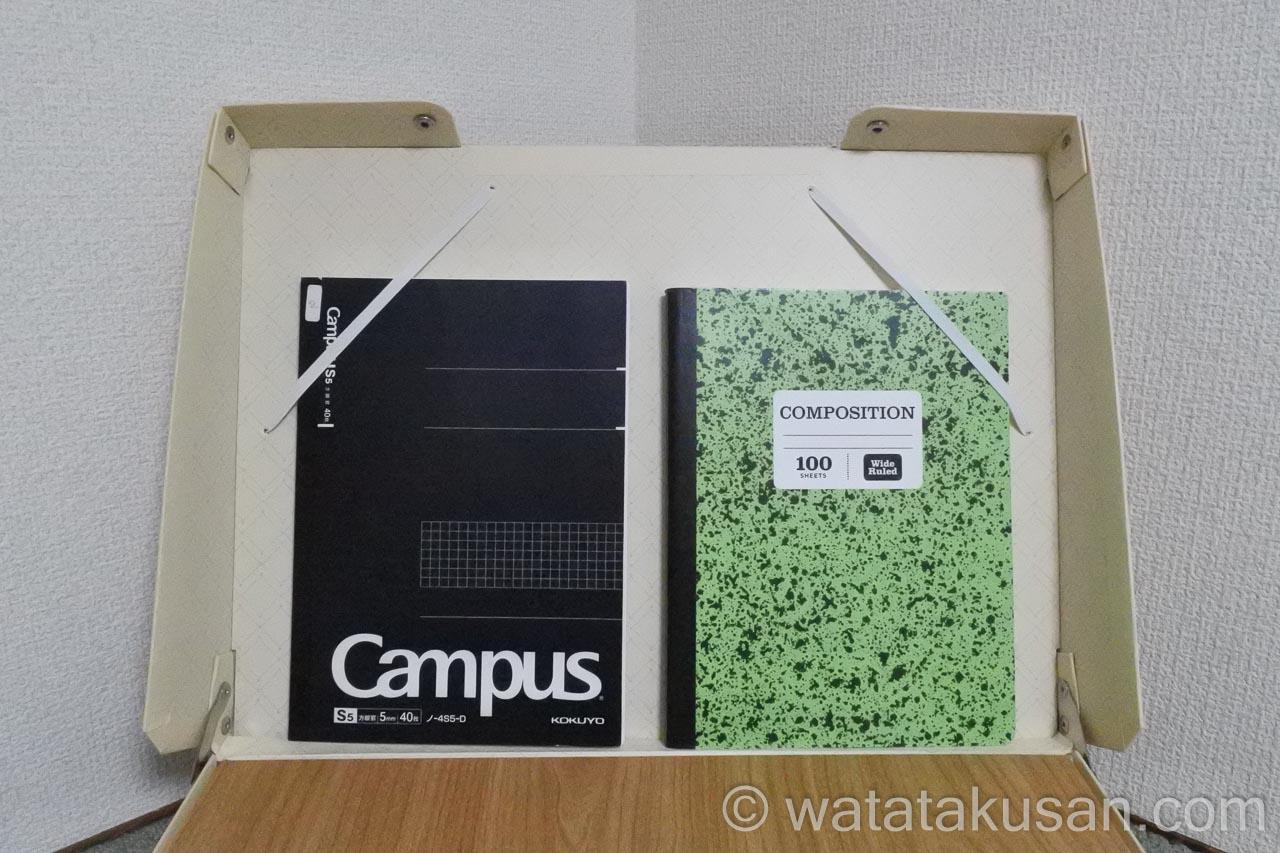 どこでも学習台2のブックスタンドにB5のノートを固定