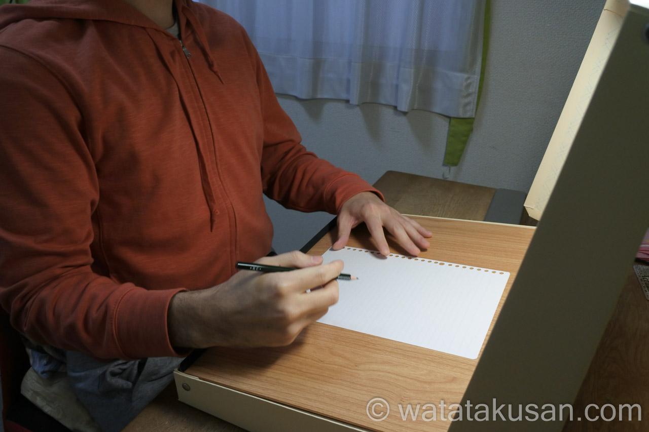 どこでも学習台2を勉強机で使用した時の姿勢